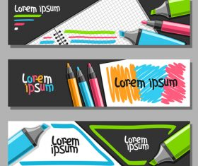 writing materials banners template vector 05