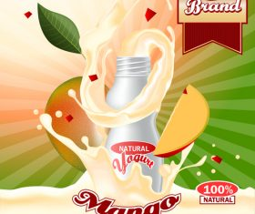 yogurt mango advertising poster vector