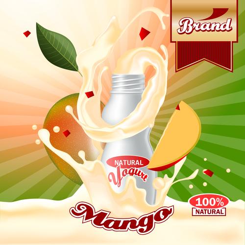 yogurt mango advertising poster vector