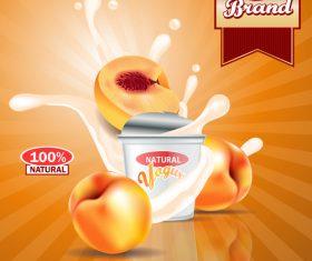 yogurt peach advertising poster vector 01