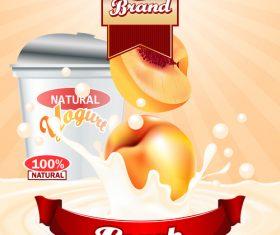 yogurt peach advertising poster vector 02