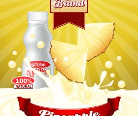 yogurt pineapple advertising poster vector
