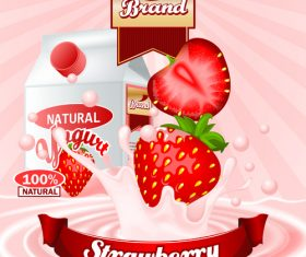 yogurt strawberry advertising poster vector 03
