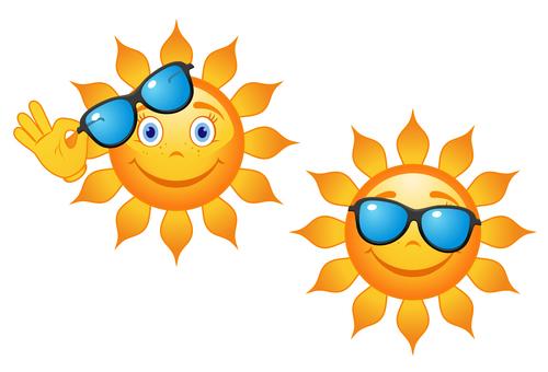 2 Cute cartoon summer sun vector