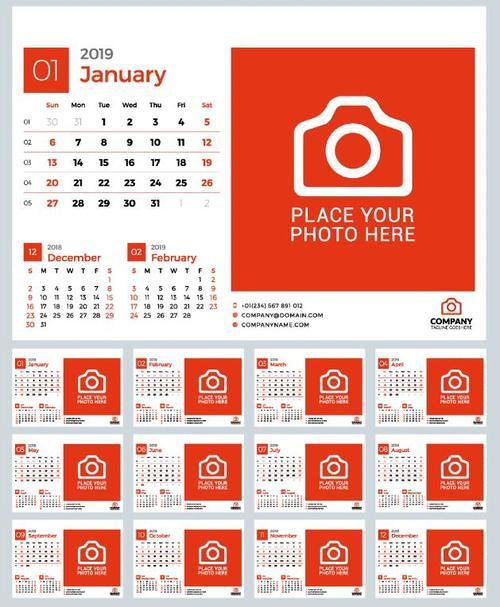 2019 Desk Calendar Red Vector Template Free Download