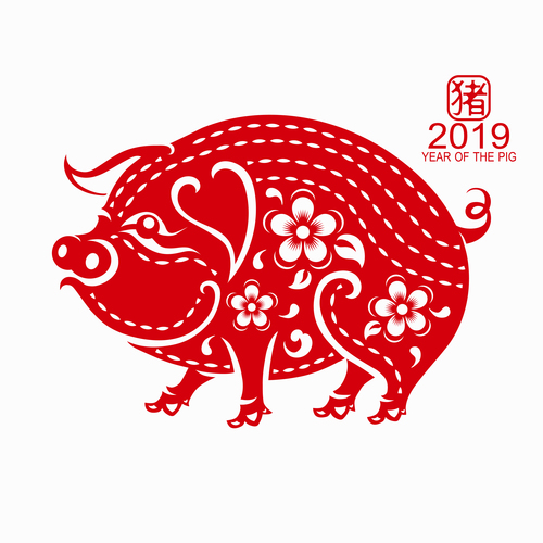 2019 Happy Chinese New Year with Pig paper cutting art vector 01