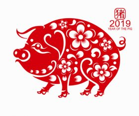2019 Happy Chinese New Year with Pig paper cutting art vector 02