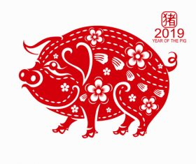 2019 Happy Chinese New Year with Pig paper cutting art vector 03