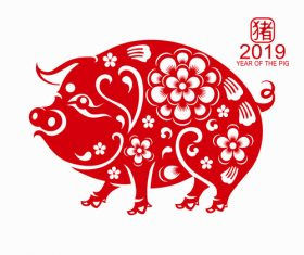 2019 Happy Chinese New Year with Pig paper cutting art vector 04