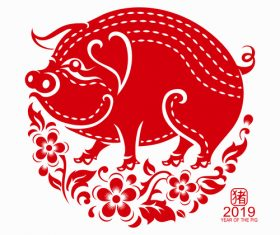2019 Happy Chinese New Year with Pig paper cutting art vector 05
