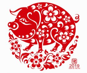 2019 Happy Chinese New Year with Pig paper cutting art vector 06