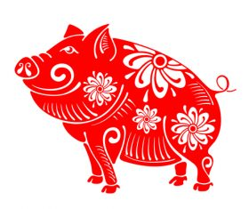 2019 Happy Chinese New Year with Pig paper cutting art vector 09