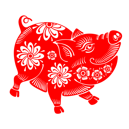 2019 Happy Chinese New Year with Pig paper cutting art vector 10