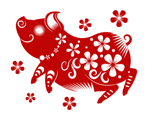 2019 Happy Chinese New Year with Pig paper cutting art vector 11