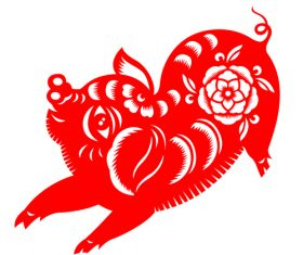 2019 Happy Chinese New Year with Pig paper cutting art vector 12