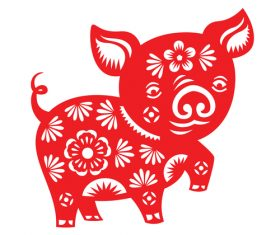2019 Happy Chinese New Year with Pig paper cutting art vector 13