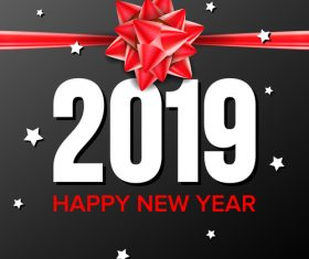 2019 New Year background with red ribbon bows vector