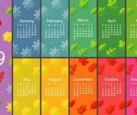 2019 calender four seasons vector