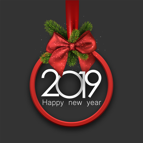 2019 Christmas.2019 Christmas Decor With Red Bows Vector Free Download