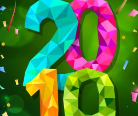 2019 new year background with colored confetti vector 01
