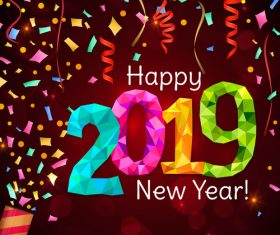 2019 new year background with colored confetti vector 02