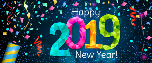 2019 new year background with colored confetti vector 03