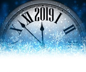 2019 new year clock background vector 01