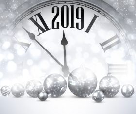 2019 new year clock background vector 02