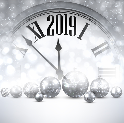 2019 new year clock background vector 02 free download