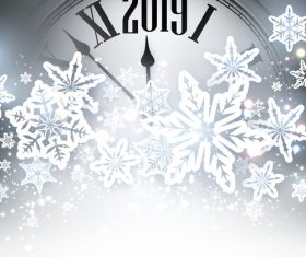 2019 new year clock background vector 04