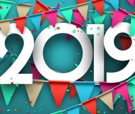 2019 new year confetti backgrounds vector