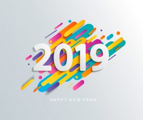 2019 new year text design with colored background vector