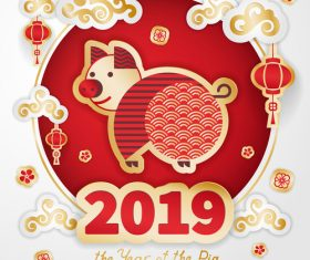 2019 the year of the pig design vector