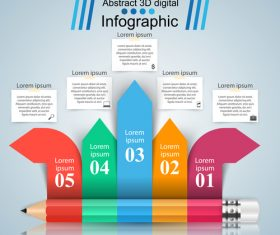 3d arrows abstract infographic vector 03