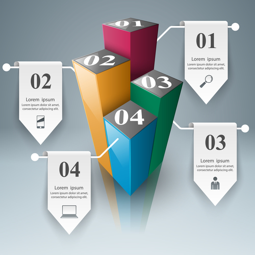 3d box infographic vector 02