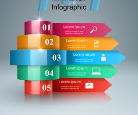 3d light line infographic vector 01
