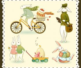 4 Easter Bunny and Eggs vector