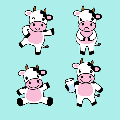 4 cartoon cows vector material