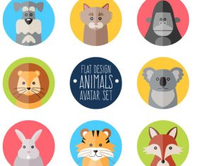 8 flat color animal icons vector