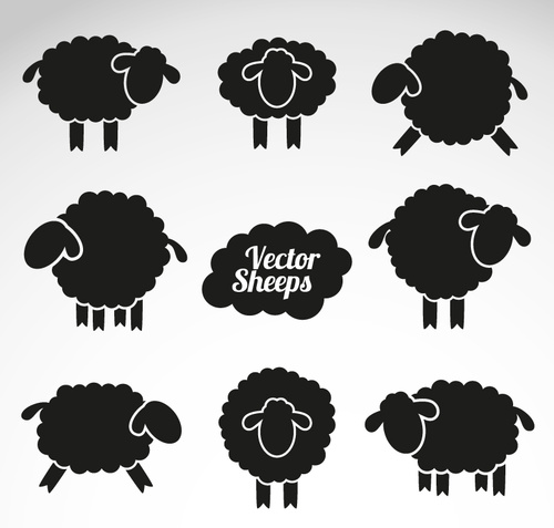 8 sheep silhouette vector material