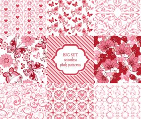 9 Seamless ornament with pink hearts and butterflies vector