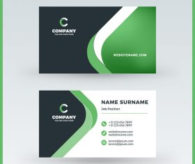 Abstract green business card template vector 01