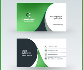 Abstract green business card template vector 02