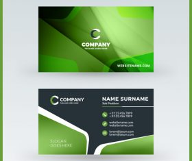 Abstract green business card template vector 03