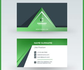 Abstract green business card template vector 04