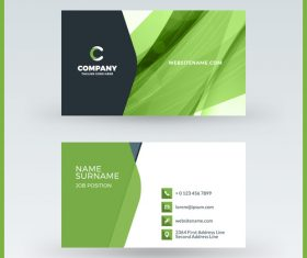 Abstract green business card template vector 05