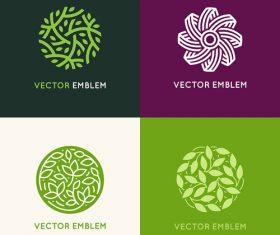 Abstract green logo design vector material