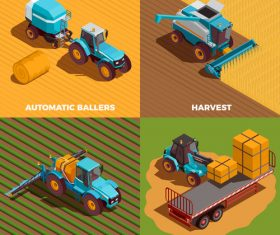 Agricultural machines isometric vector