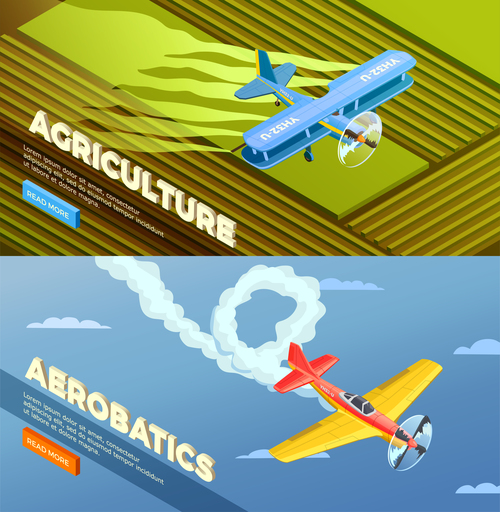 Airplanes helicopters isometric banners vector