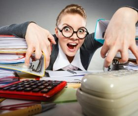 Angry female secretary at work pressure Stock Photo 01